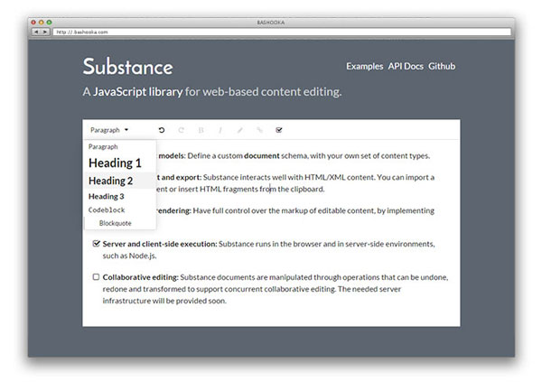 Awesome Javascript WYSIWYG Markdown Editors - substance
